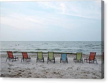 Colorful Beach Chairs Canvas Print by Ann Bridges