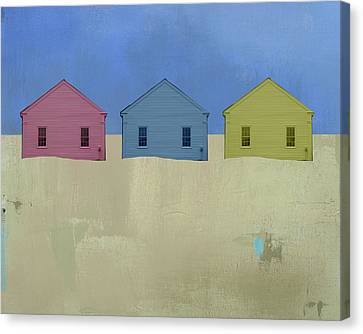 Cape Cod Canvas Print - Colorful Beach Cottage by Jacquie Gouveia