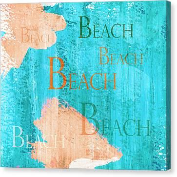 Colorful Beach Sign Canvas Print