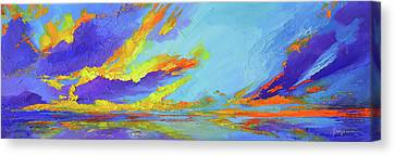 Colorful Beach Sunset Oil Painting  Canvas Print by Patricia Awapara