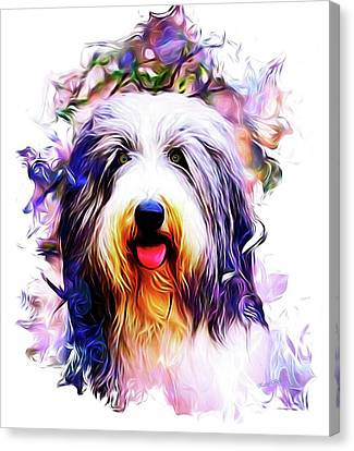 Scottish Dog Canvas Print - Colorful Bearded Collie by Kathy Kelly