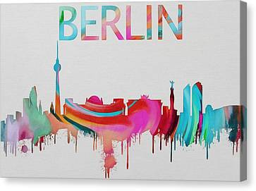 Colorful Berlin Skyline Silhouette Canvas Print by Dan Sproul
