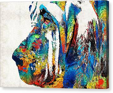 Colorful Bloodhound Dog Art By Sharon Cummings Canvas Print