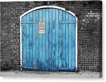 Colorful Blue Garage Door French Quarter New Orleans Color Splash Black And White And Poster Edges Canvas Print by Shawn O'Brien