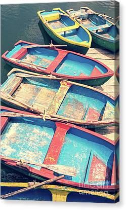 Row Boat Canvas Print - Colorful Boats by Delphimages Photo Creations