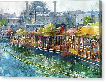 Colorful Boats In Istanbul Turkey Canvas Print by Brandon Bourdages