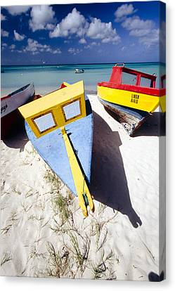 Beaches Canvas Print - Colorful Boats On  Eagle Beach  Aruba by George Oze