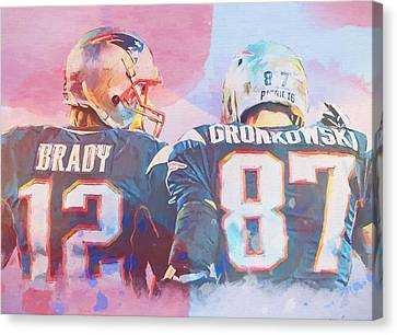 Canvas Print featuring the painting Colorful Brady And Gronkowski by Dan Sproul
