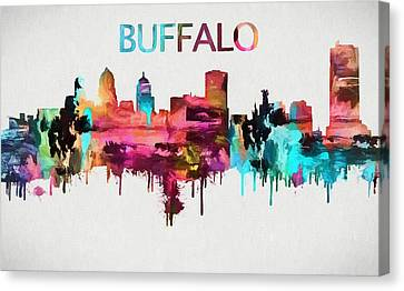 Colorful Buffalo Skyline Silhouette Canvas Print by Dan Sproul