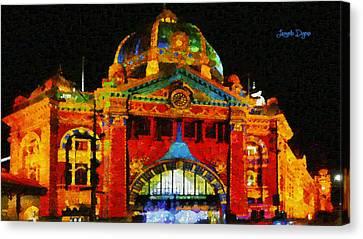 Colorful Building At Night - Da Canvas Print by Leonardo Digenio