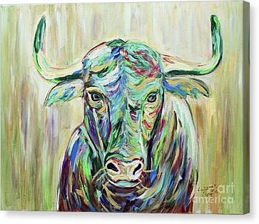 Colorful Bull Canvas Print by Jeanne Forsythe