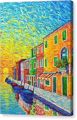 Colorful Burano Sunrise - Venice - Italy - Palette Knife Oil Painting By Ana Maria Edulescu Canvas Print