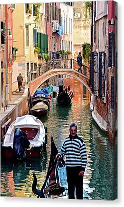 Gondola Ride Canvas Print - Colorful Canals by Frozen in Time Fine Art Photography