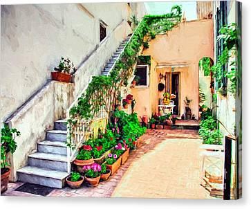 Colorful Capri Courtyard Canvas Print by Mel Steinhauer