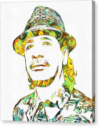 Colorful Carlos Santana Canvas Print by Dan Sproul