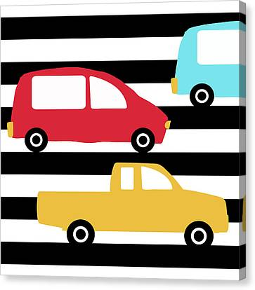 Juvenile Art Canvas Print - Colorful Cars- Art By Linda Woods by Linda Woods