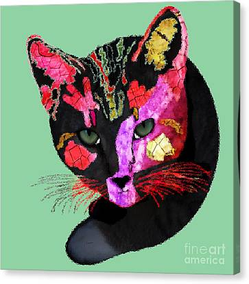Colorful Cat Abstract Artwork By Claudia Ellis Canvas Print by Claudia Ellis