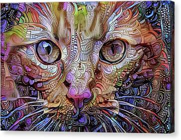 Colorful Cat Art Canvas Print by Peggy Collins