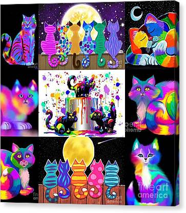 Colorful Cat Collage  Canvas Print by Nick Gustafson