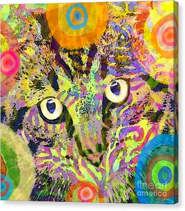 Colorful Cat Print Canvas Print by Stacey Chiew