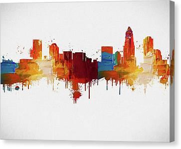 Colorful Charlotte Skyline Silhouette Canvas Print