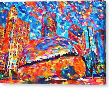 Canvas Print featuring the painting Colorful Chicago Bean by Dan Sproul