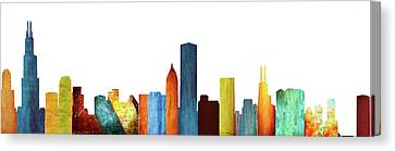 Colorful Chicago Skyline Canvas Print by Art Spectrum