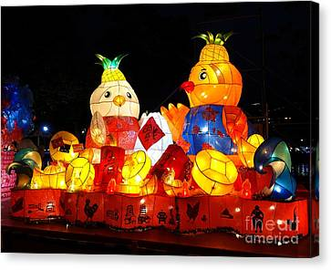 Canvas Print featuring the photograph Colorful Chinese Lanterns In The Shape Of Chickens by Yali Shi