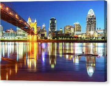 Canvas Print featuring the photograph Colorful Cincinnati Ohio River Skyline by Gregory Ballos