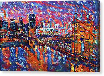 Colorful Cincinnati Skyline Canvas Print