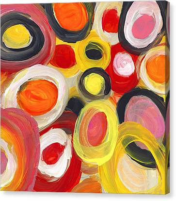 Colorful Circles In Motion Square 3 Canvas Print