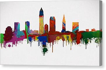 Colorful Cleveland Skyline Silhouette Canvas Print by Dan Sproul