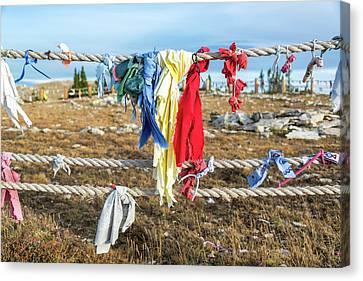 Colorful Cloths At Medicine Wheel Canvas Print by Jess Kraft