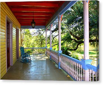 Colorful Creole Porch Canvas Print by Carol Groenen