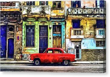 Canvas Print featuring the painting Colorful Cuba by Edward Fielding