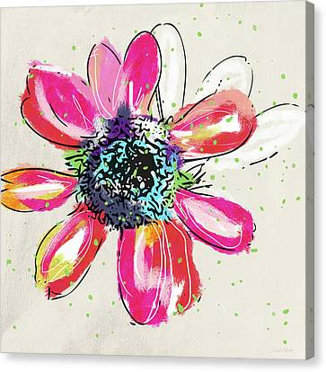Canvas Print featuring the mixed media Colorful Daisy- Art By Linda Woods by Linda Woods
