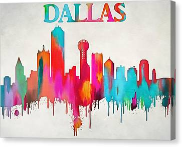 Colorful Dallas Skyline Silhouette Canvas Print by Dan Sproul