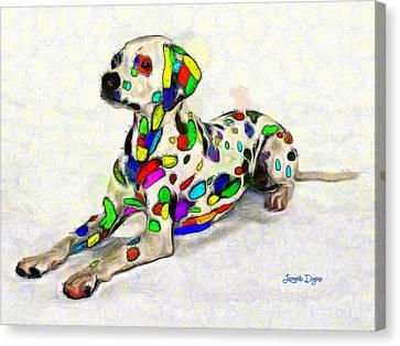 Colorful Dalmatian - Pa Canvas Print by Leonardo Digenio