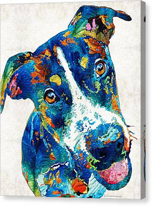 Colorful Dog Art - Happy Go Lucky - By Sharon Cummings Canvas Print