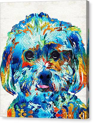 Colorful Dog Art - Lhasa Love - By Sharon Cummings Canvas Print by Sharon Cummings