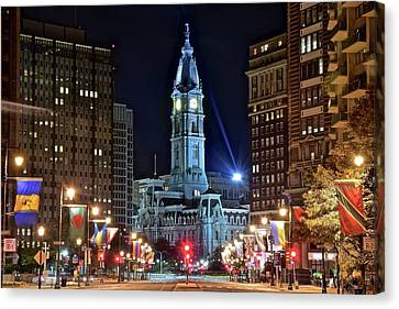 Colorful Downtown Philly 2016 Canvas Print by Frozen in Time Fine Art Photography