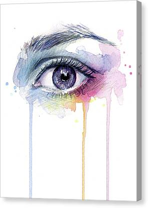 Colorful Dripping Eye Canvas Print by Olga Shvartsur