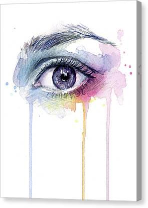 Drips Canvas Print - Colorful Dripping Eye by Olga Shvartsur