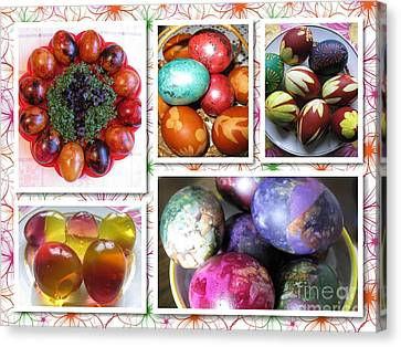 Canvas Print featuring the photograph Colorful Easter Eggs Collage 07 by Ausra Huntington nee Paulauskaite