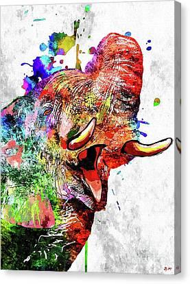 Colorful Elephant Canvas Print by Daniel Janda