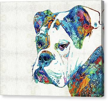 Canvas Print featuring the painting Colorful English Bulldog Art By Sharon Cummings by Sharon Cummings