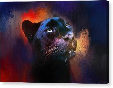 Colorful Expressions Black Leopard Canvas Print by Jai Johnson
