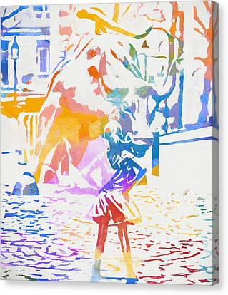 Canvas Print featuring the painting Colorful Fearless Girl by Dan Sproul