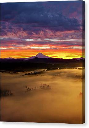 Colorful Foggy Sunrise Over Sandy River Valley Canvas Print