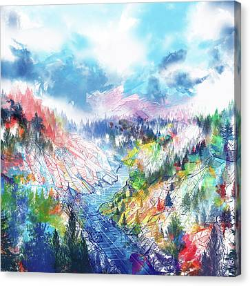 Abstract Digital Canvas Print - Colorful Forest 5 by Bekim Art